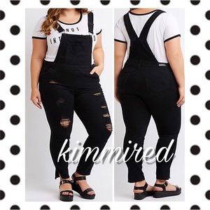 🆕 Black Plus Distressed Overalls ~ 22 ~ NWT